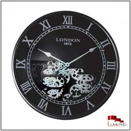 Horloge à engrenages LONDON, Noire et Argentée, D60.