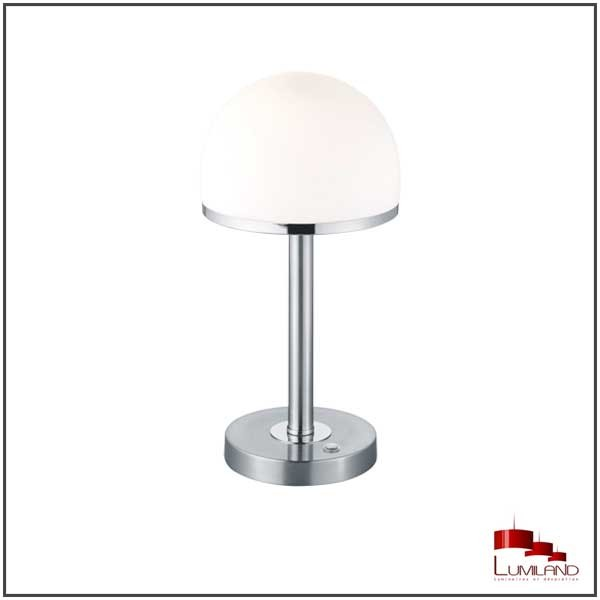 Lampe à poser BERLIN, Nickel Satiné, LEDS Intégrées, Tactile