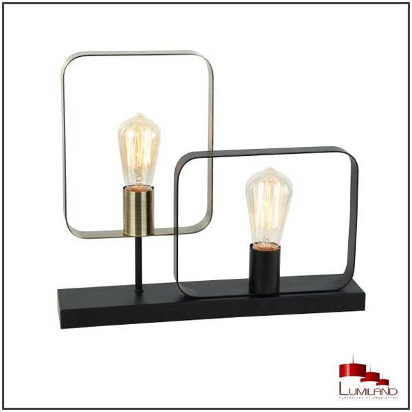 Lampe ECHO 2 lumières Noir et Laiton