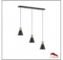 Suspension PLANO, Noir et Or, 3 lumières
