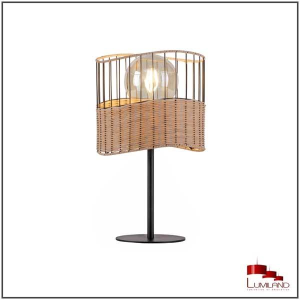 Lampe REED, Rotin et Noir, 1 lumière