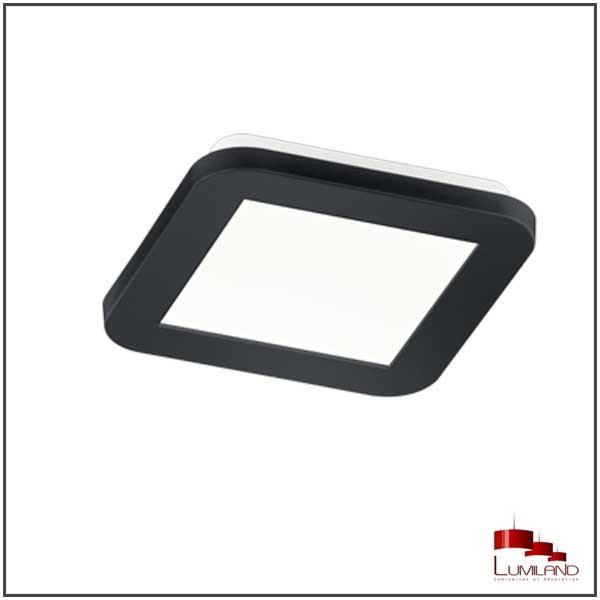 Plafonnier CAMILLUS, Noir, LEDS Intégrées, Carré, 17cm