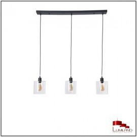 Suspension ILO-ILO, Noire, 3 lumières linéaires