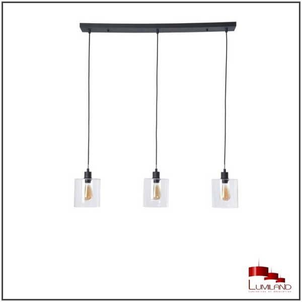 Suspension ILO-ILO, Noire, 3 lumières