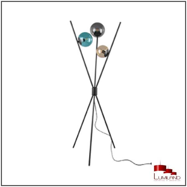 Lampadaire LANCE, Noir, 3 lumières, multicolore