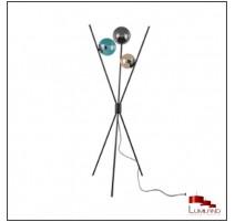 Lampadaire LANCE, Noir, 3 lumières, verres multicolores