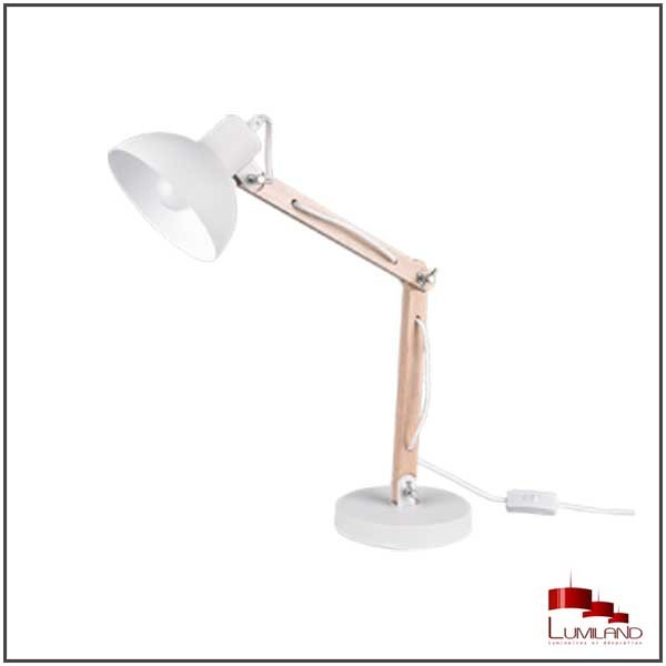 Lampe KIMI, Blanc et Bois, 1 lumière