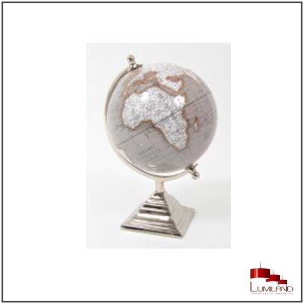 Mappemonde PHINEAS, Grise, 25 cm