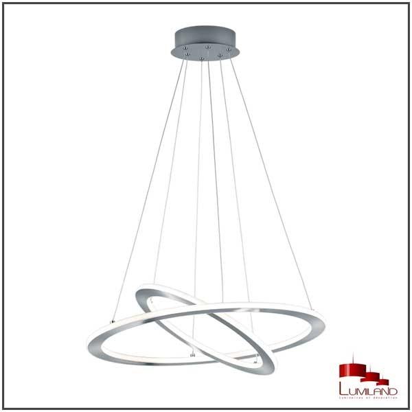 Suspension DURBAN, Nickel Mat, Double anneaux, LEDS Intégrées.