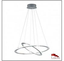 Suspension DURBAN, Nickel Mat, Double anneau, LEDS Intégrées.