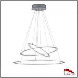 Suspension DURBAN, Nickel Mat, Triple anneau, LEDS Intégrées.