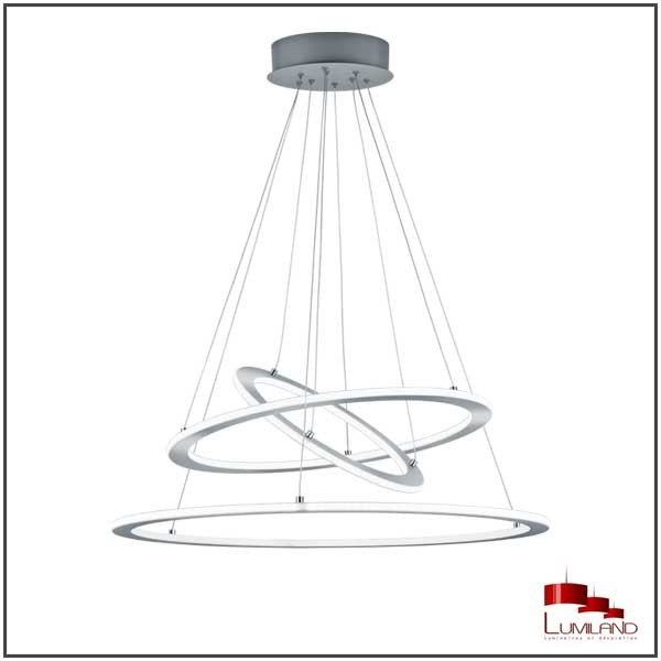 Suspension DURBAN, Nickel Mat, Triple anneaux, LEDS Intégrées.