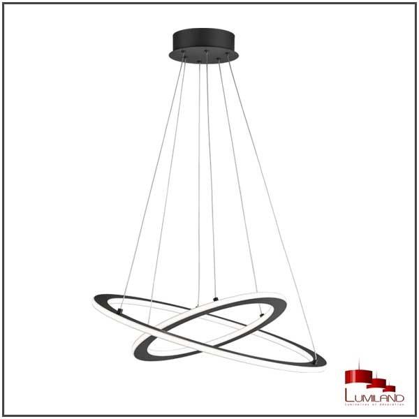 Suspension DURBAN, Anthracite, Double anneaux, LEDS Intégrées.