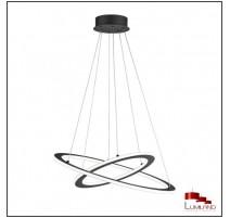 Suspension DURBAN, Anthracite, Double anneau, LEDS Intégrées.