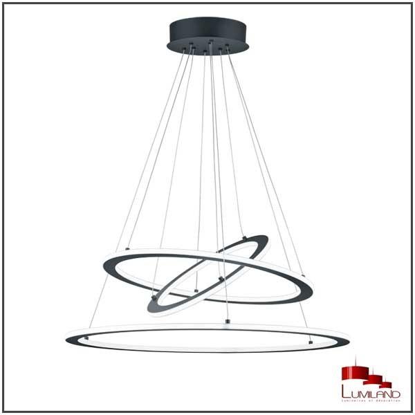 Suspension DURBAN, Anthracite, Triple anneau, LEDS Intégrées.