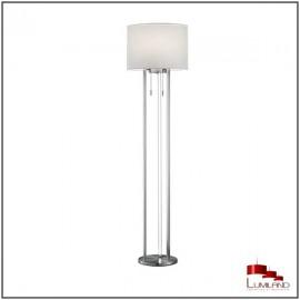 Lampadaire TANDORI, Nickel Mat et Blanc, 1 Lumière et LEDS Intégrées