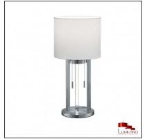 Lampe à poser TANDORI, Nickel Mat et Blanc, 1 Lumière et LEDS Intégrées