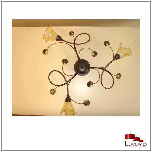 Ras de plafond ELISE, Rouille et Or, 3 lumières.