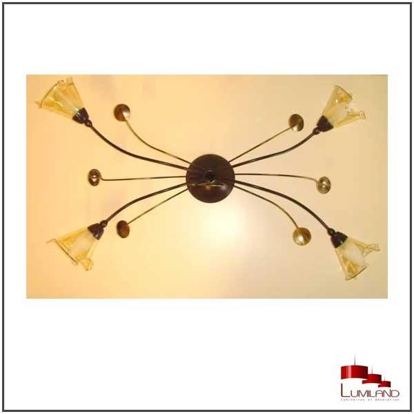 Ras de Plafond ELISE, Rouille et Or, 4 lumières.