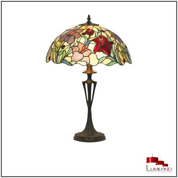 Lampe FLEUR TIFFANY, Rose, 1 lumière