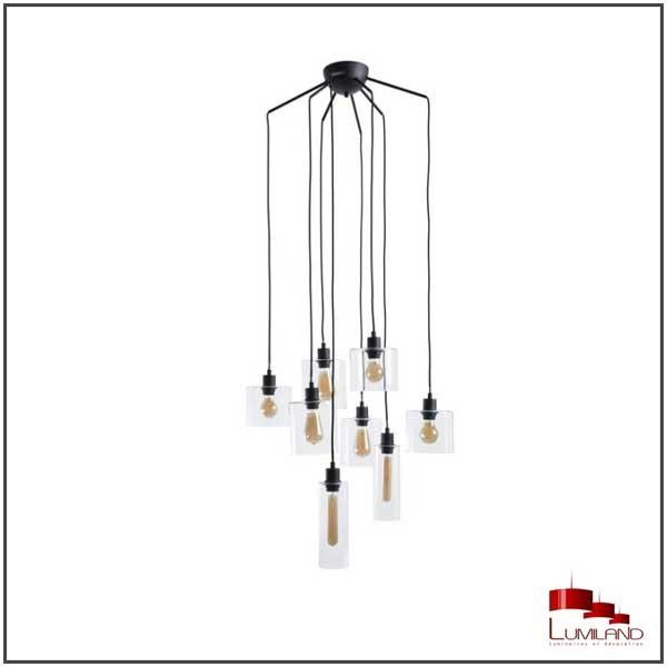 Suspension ILO-ILO, Noire, 8 lumières